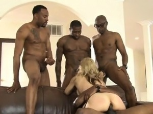 Big jugs blonde whore Sarah Vandella interracial DP action