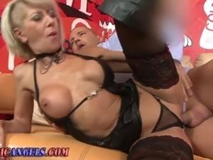 Deep throating mature hoe gets pierced pussy rammed