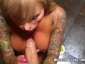 Tatto college girl takes a shower with horny guy and turns into pleasure of...