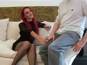 Sexy clothed domina rides creeps face