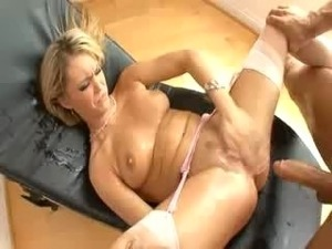 Squirt Machines - Scene 3. Nice girl squirting in white-pink stockings