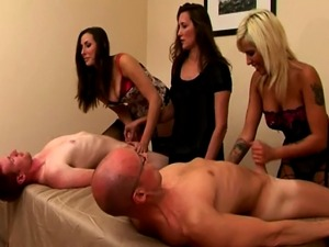 CFNM FEMDOM babes holding tugging match to finish dudes off