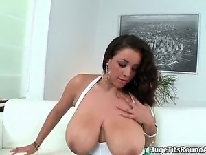 Busty brunette babe gets horny showing part2