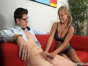 younger sister giving handjob