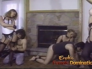 Three horny sluts have their feet and pussies licked by two