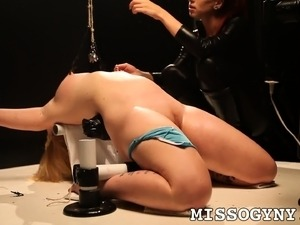 Helpless blonde Sasha Knox is made to cum hard by a ravishing mistress