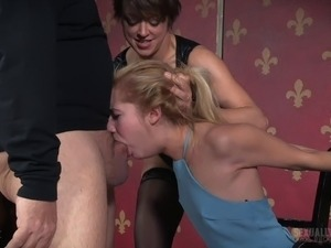 Lustful blonde chick sucks on a strap-on and a pulsating dick