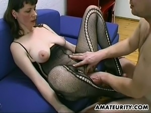 busty wife with glasses gives titjob