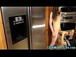 naked girl in kitchen